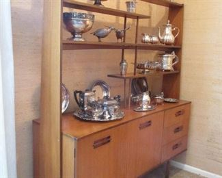 THE FINEST MID CENTURY MODERN ETAGERE CHINA HUTCH & STERLING COLLECTION.  LOVE EAMES ERA?  HERMAN MILLER?  DANISH OR SWEDISH MODERN?