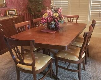 Vintage RWAY Dining Table with Eight Chairs