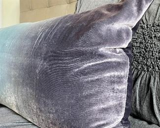 """Item 45:  Rectangle Kevin O'Brien Purple Velvet Ombre Pillow dyed by hand in overlapping colors - 34"""" x 15"""": $95"""