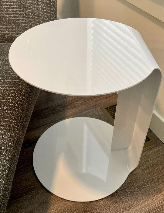 """Item 34:  Costa Side Table by Room and Board- Made of steel with a white powder-coated finish.- 18""""l x 18""""w x 22""""h:  $225"""