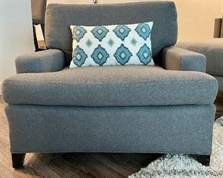 "Item 2:  Designer Armchair with Luxurious Grey Felt Upholstery - 34""l x 24""w x 26.75""h:     $625"