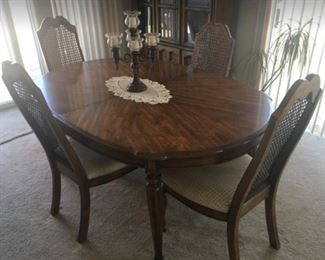 Dining Table with two leaves and 6 chairs, this is a huge table and quality!