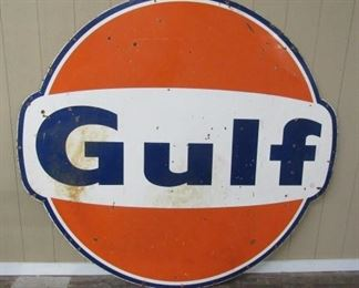 1967 - 6' Porcelain GULF Sign - Single Sided