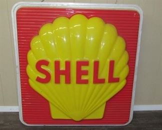 5' Plastic w/Metal Frame Shell Sign - Double Sided