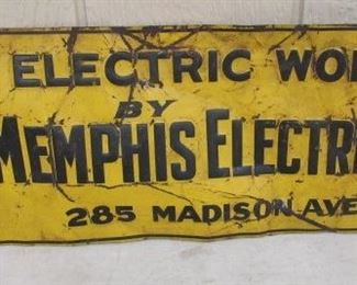 "9"" x 19"" Metal Memphis Electric Co. Sign"
