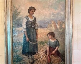 "Item 1:  ""Peasants in the Field"" Signed Oil on Canvas by Cesare Lungaro, late 19th c. Italian - 20"" x 29"":   $675"