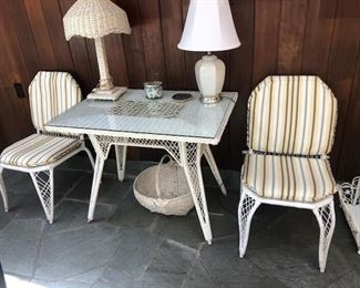 Wicker desk/table and a pr. of wicker side chairs