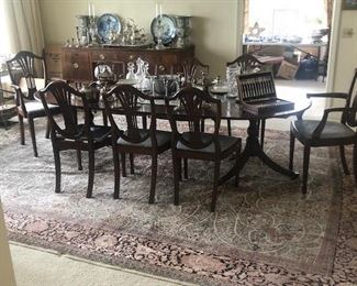 Antique English Mahogany Dining table and 8 19th C English Mahogany dining chairs