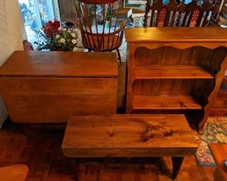 Wood shelf, bench, and table