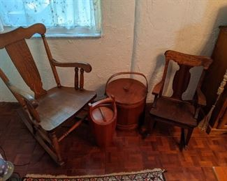 Wood antique rocker, small wood chair, wood ice bucket