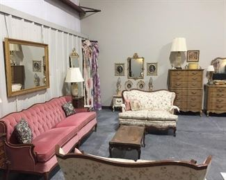 French Provincial Pink Sofa