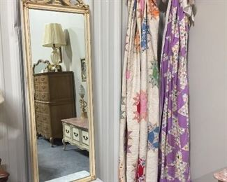 Wonderful French Hall Mirror and Small Marble Top Table and 2 Beautiful Hand made Antique Quilt Tops