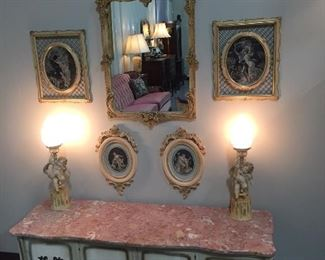 Unique Marble top French Chest and Rare French Cherub Lamps
