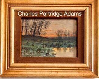 "Charles Partridge Adams Watercolor 14"""