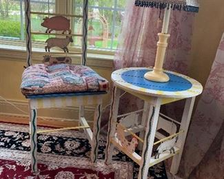 Whimsical chair, and table