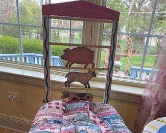Farm Animal slat back chair