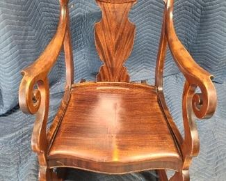 Handcarved/crafted mahogney rocking chair ~ came from the east coast
