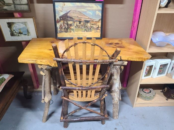 Hand-crafted in Kentucky, this rustic desk and chair set, sold together, has an ideal foot print to fit any room in country home, lake house or cottage!  1 of 4 views