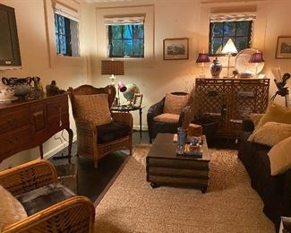 Vintage wingback cane woven chairs, bamboo shelving unit and tons of antique accessories