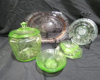 "Princess, Cameo & Swirl Pattern Depression Glass -Princess Pattern made by Hocking Glass1931-1935 *Pink Platter 12"" x 8"" *Green Uranium Biscuit Jar 6"" x 7"" tall *Cup and Saucer 5 3/4"" x 5 3/4"" -Cameo Pattern made by Hocking Glass 1930-1934 *Dessert Platter 7"" -Swirl Pattern Green Uranium Berry Bowl 5"" x 1"""
