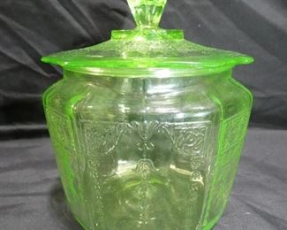 "PrinceGreen Uranium Biscuit Jar 6"" x 7"" tallss Pattern made by Hocking Glass1931-1935"