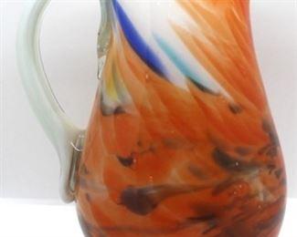 """2 - Art glass pitcher 9"""" tall"""