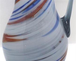 """5 - Art glass pitcher 7"""" tall"""