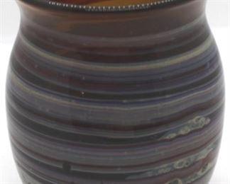 """6 - Englehardt signed art glass vase 4 1/4"""" tall"""