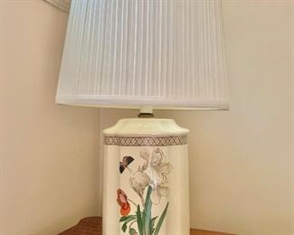 """$80 - Ceramic lamp with butterfly - tested and working; 24"""" total height, pleated oval shade is 14"""" wide."""
