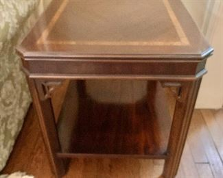 """$140 - Inlay side table; 22.5"""" H x 20"""" W x 27.5"""" D"""