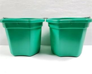 """106 NEW Two (2) 20 Qrt. Flat back bucket, 11"""" tall. Made in USA. NEW Two (2) 20 Qrt. Flat back bucket, 11"""" tall. Made in USA."""