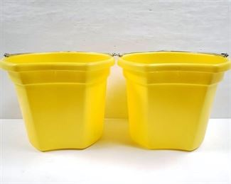 """108 NEW Two (2) 20 Qrt. Flat back bucket, 11"""" tall. Made in USA. NEW Two (2) 20 Qrt. Flat back bucket, 11"""" tall. Made in USA."""