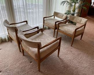 Four incredible Adrian Pearsall for Craft Associates #834-C Lounge Chairs!
