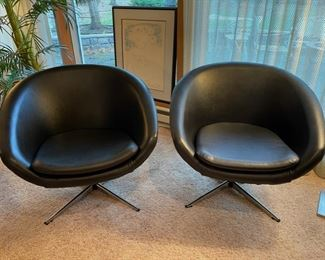"""Vintage Overman """"The Pod"""" chairs in original black vinyl upholstery"""