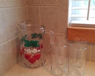 Vintage strawberry pitcher