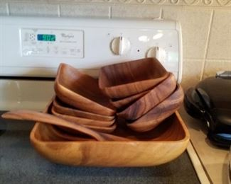 10 piece wooden soaked bowl set