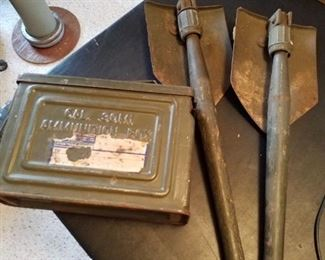 2 military folding shovels and an ammo box