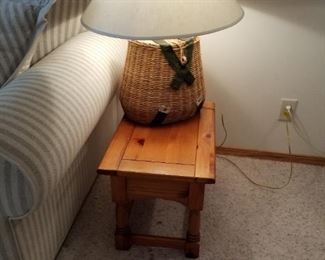 Basket lamp and end table