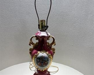 ANTIQUE PORCELAIN PARLOR LAMP GEORGE & MARTHA WASHINGTON