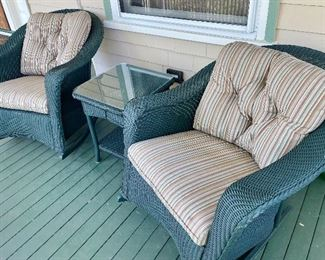 (2) Lloyd Flanders Wicker Rockers