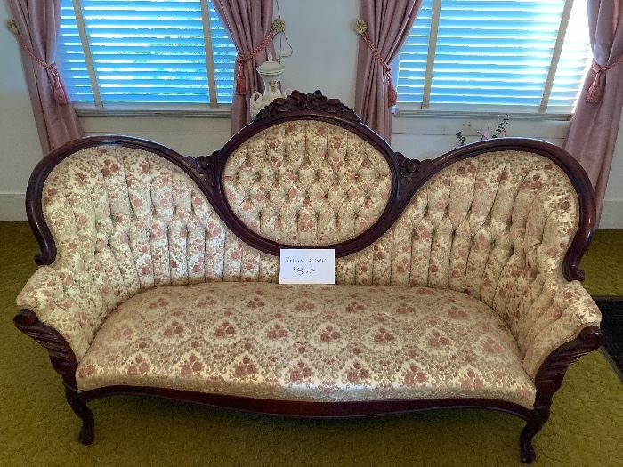 Antique Victorian kimball strawberry collection 3 seater, excellent condition $800
