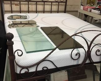 Old iron bed (mattress is free with bed)