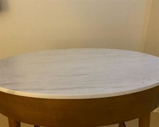 """Compact Mid-century Style Desk. White Marble Top. Front Drawer: W:32"""" D:20"""" H:30"""". Use as desk, bathroom vanity, bar, nightstand, end table. Excellent, clean condition."""