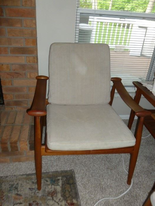 Beautiful chair (1 of a pair) brought here from Denmark..France & Son..all original