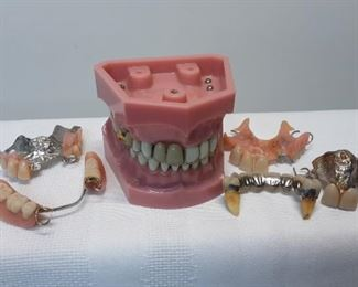Vtg dental bridges, retainers, office models. Gold and Silver