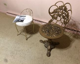 cast iron garden ornate chair gold and vanity stool
