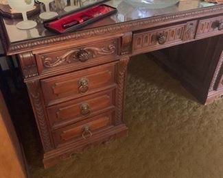 Beautiful carved desk finished on both sides walnut