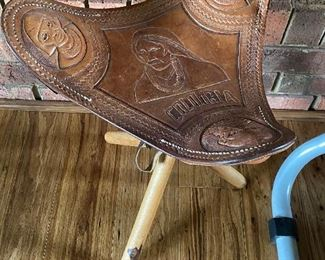 Tooled Leather Stool from Columbia