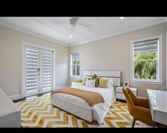 Rug, bed, headboard, chair, nightstand