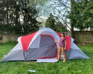 Golden Bear 18'x10' Yosemite three-room Tent. Sleeps up to 8 people. Plenty of space for your family camping trip and all its gear! $60.